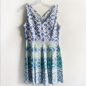 Just...Taylor fit and flare dress blue green print